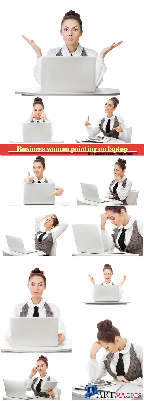 Business woman pointing on smartphone, laptop, tablet