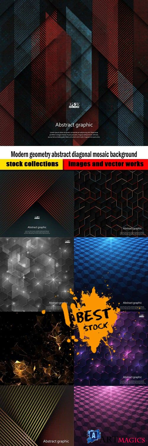 Modern geometry abstract diagonal mosaic background
