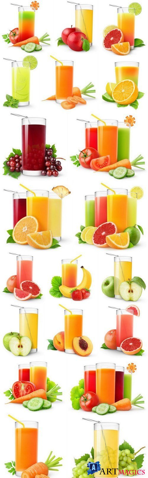 Fresh juice on a white background - 20xUHQ JPEG Photo Stock