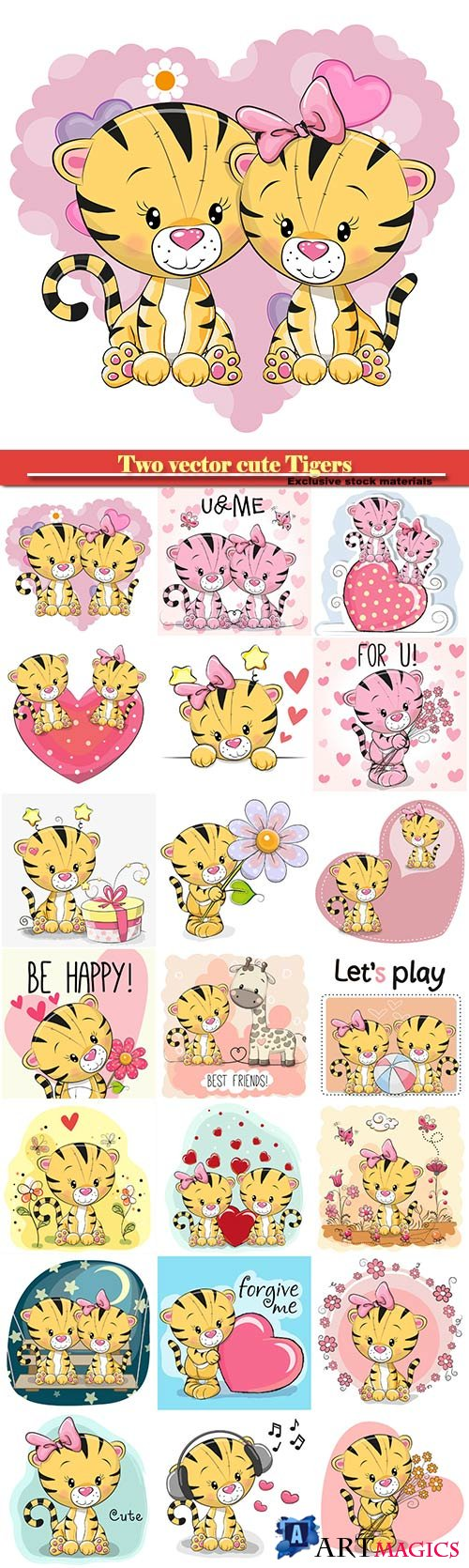 Two vector cute Tigers on a background of heart #2