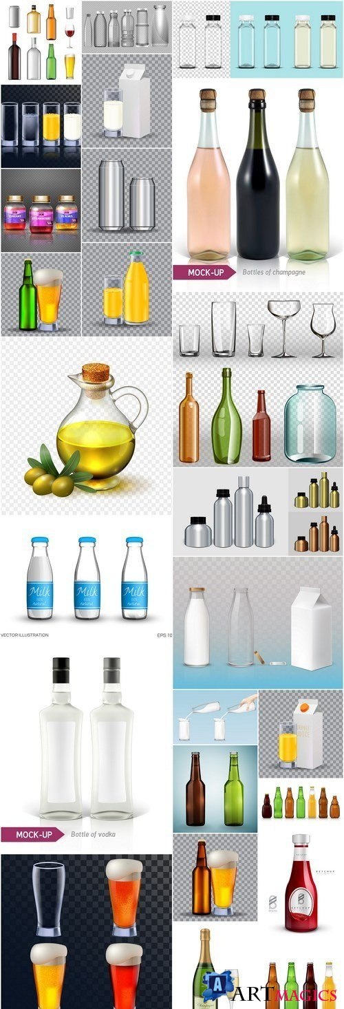 Realistic Mockup Bottle And Glass - 25 Vector