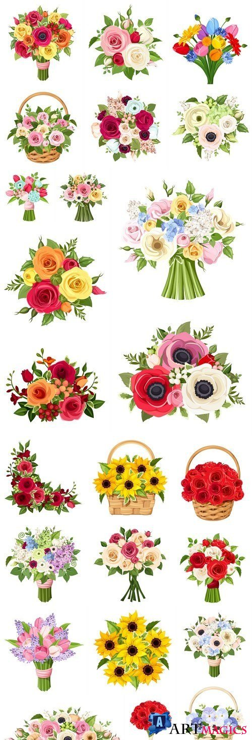 Spring Flowers Bouquet - 24 Vector