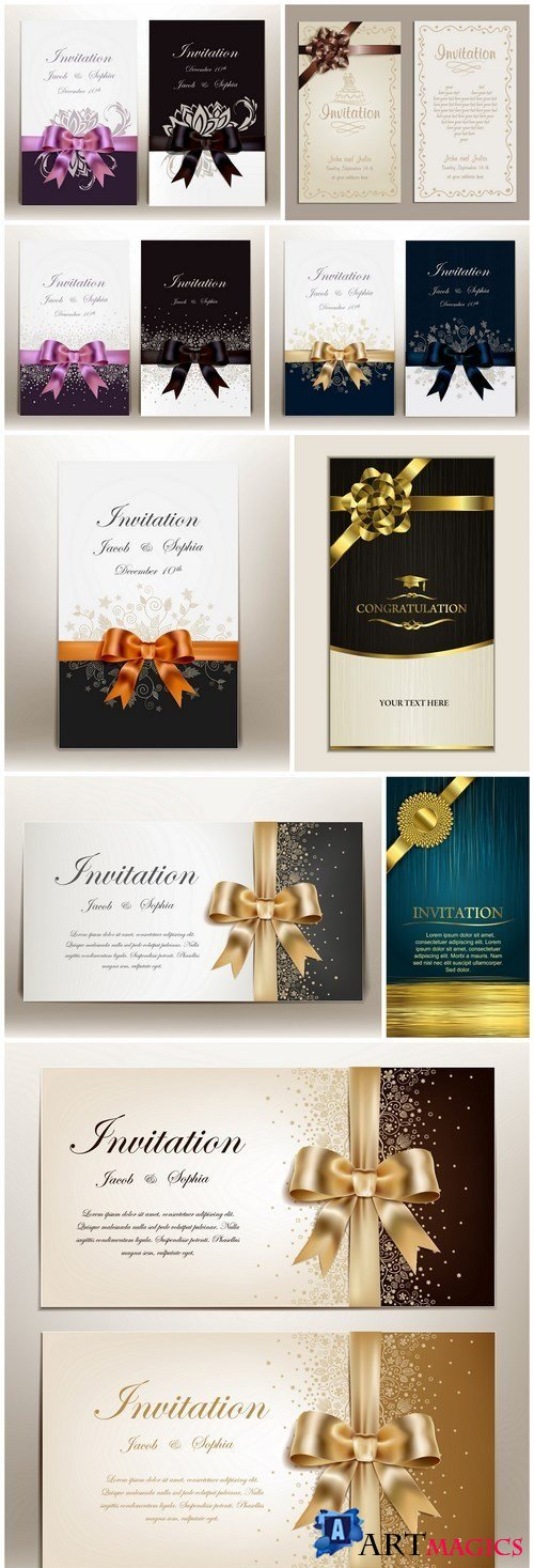 Wedding Invitation Card With Ribbon - 9 Vector