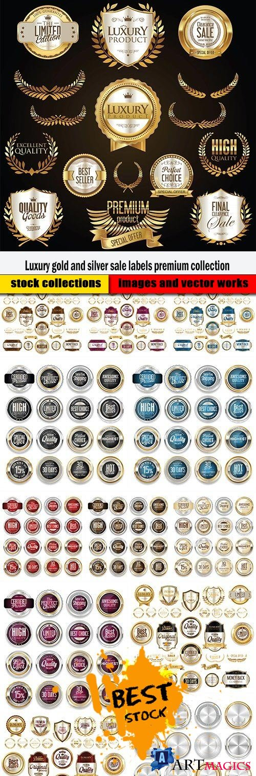 Luxury gold and silver sale labels premium collection