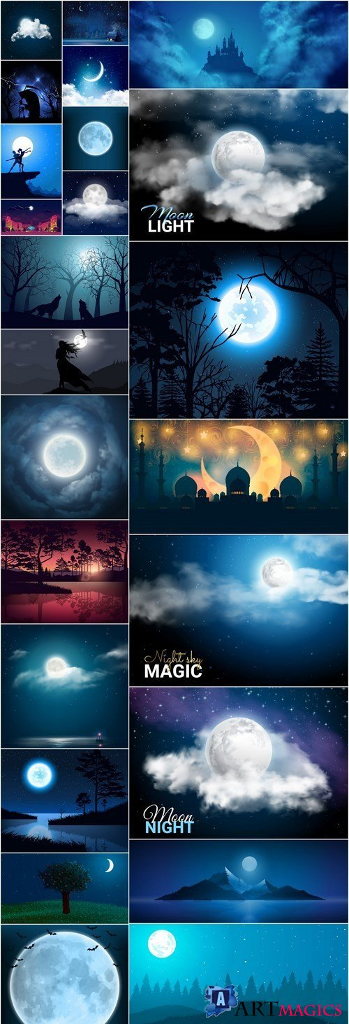 Night Nature Background - 25 Vector