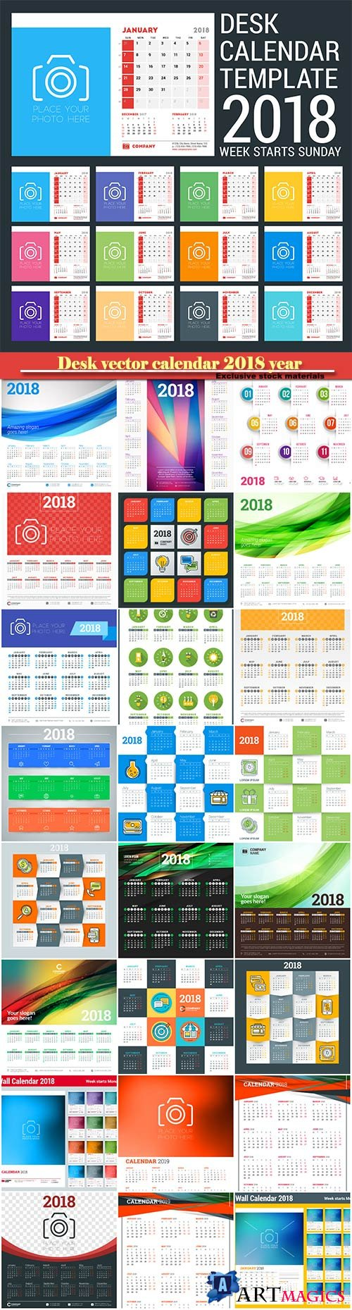 Desk vector calendar design templatefor 2018 year