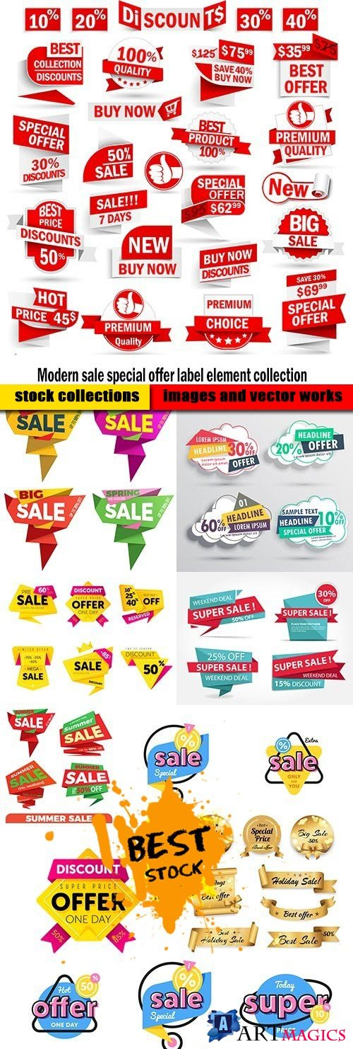 Modern sale special offer label element collection