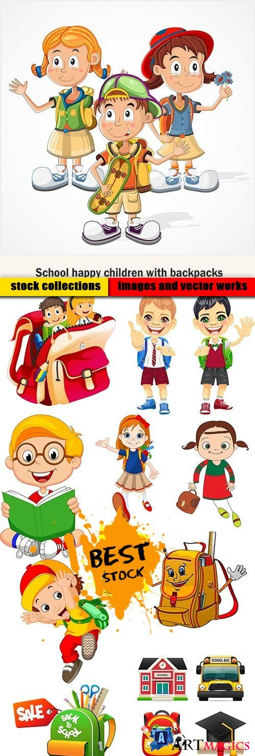 School happy children with backpacks
