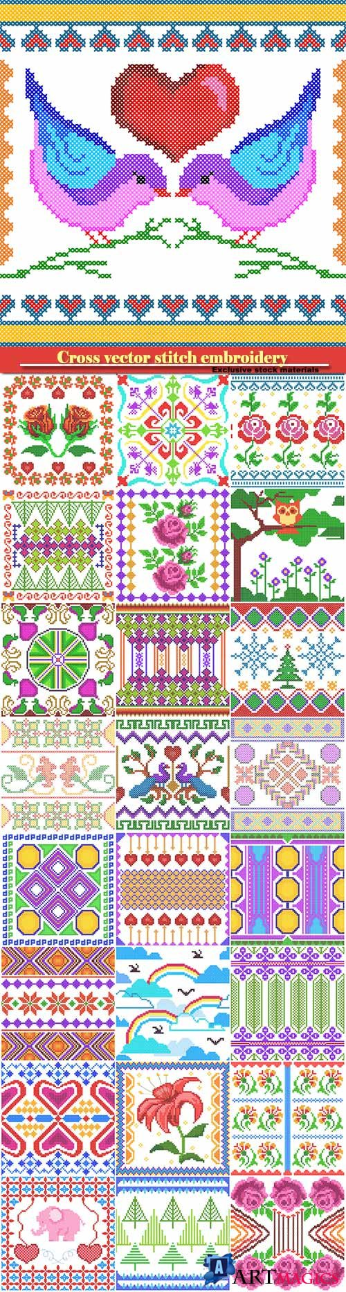 Cross vector stitch embroidery, floral design for seamless pattern texture