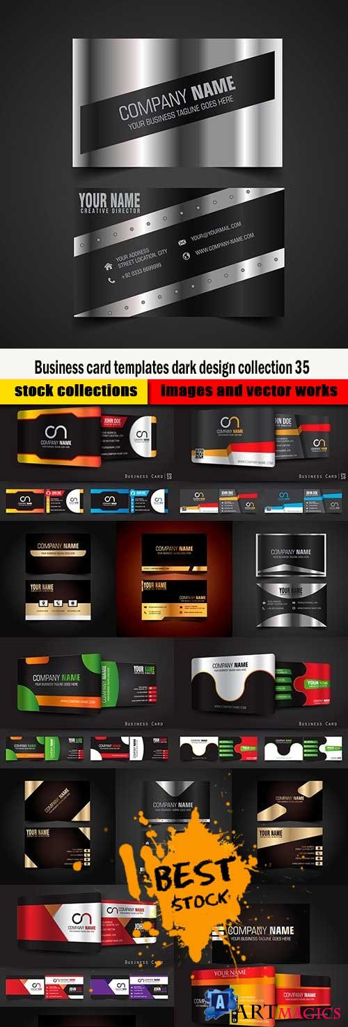Business card templates dark design collection 35