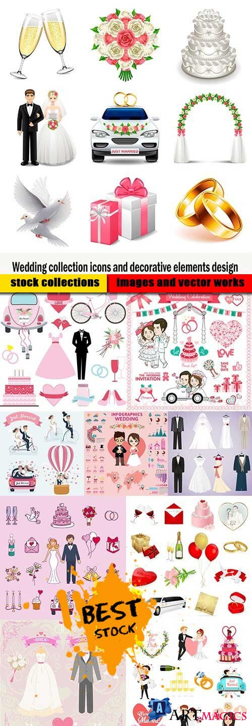 Wedding collection icons and decorative elements design