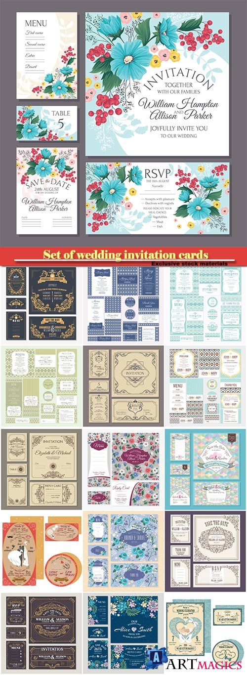 Vector vintage floral wedding cards collection
