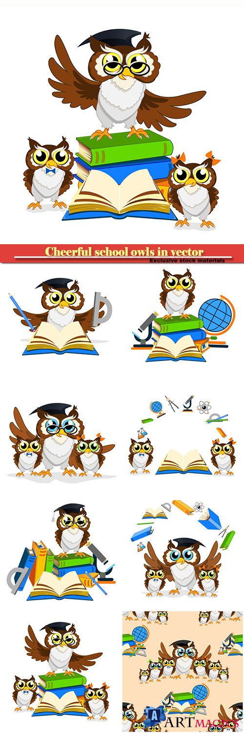 Cheerful school owls in vector