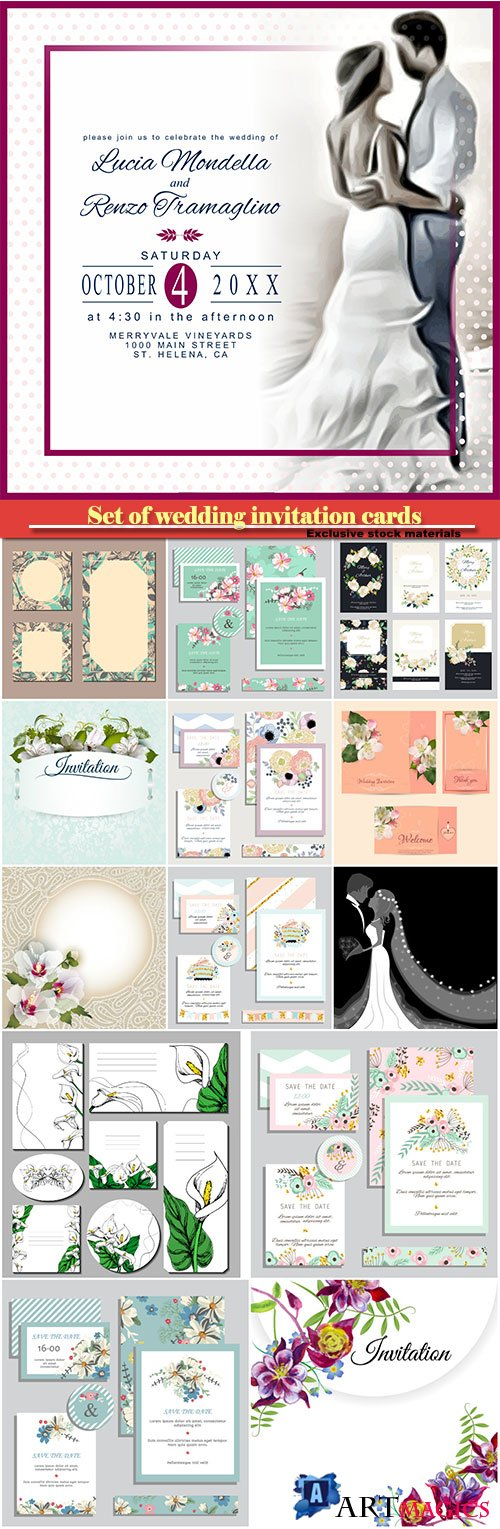Set of wedding invitation cards in vector