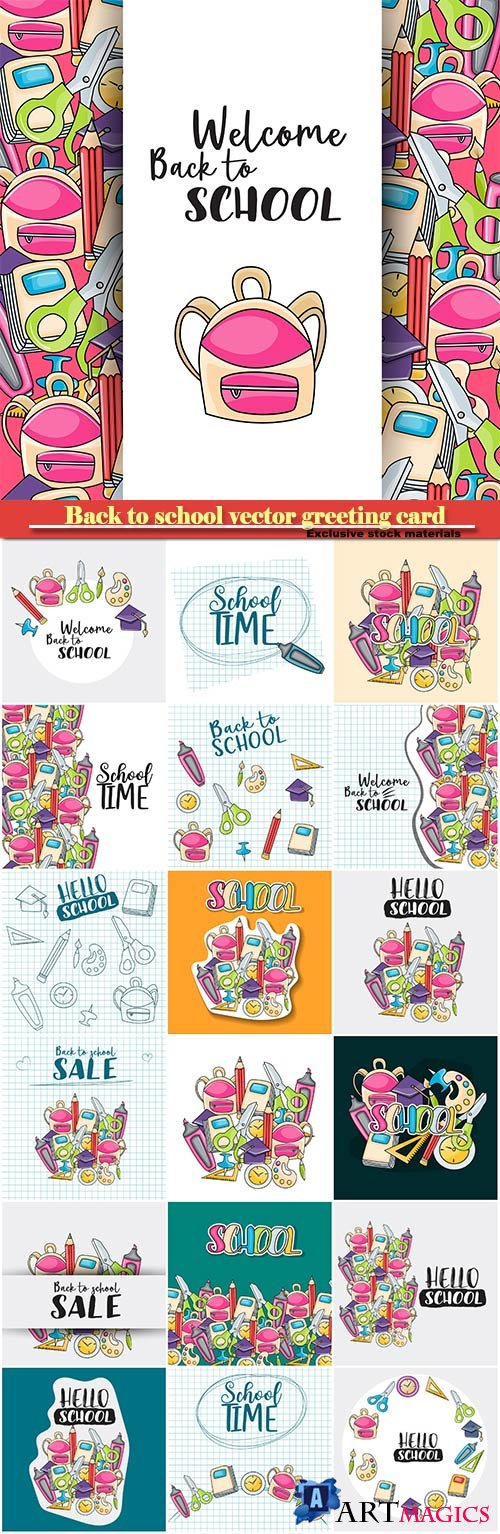 Back to school vector greeting card # 1
