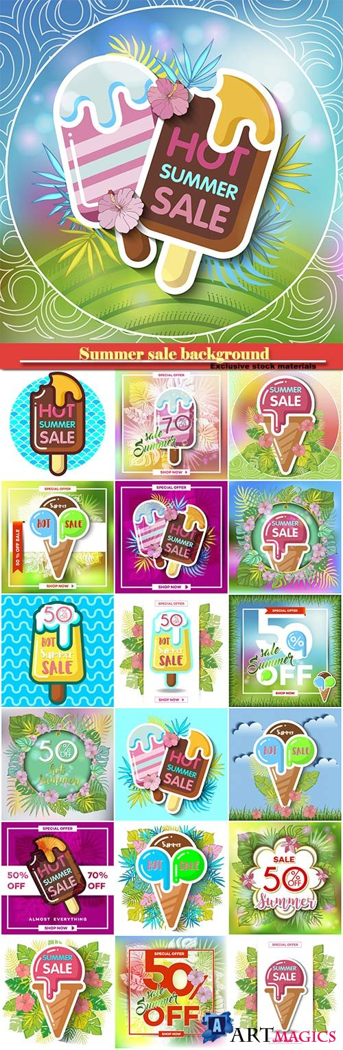 Summer sale background with tropical palm leaves and ice-cream