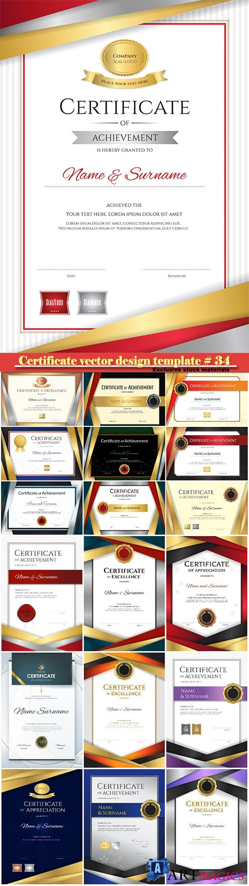 Certificate and vector diploma design template # 34