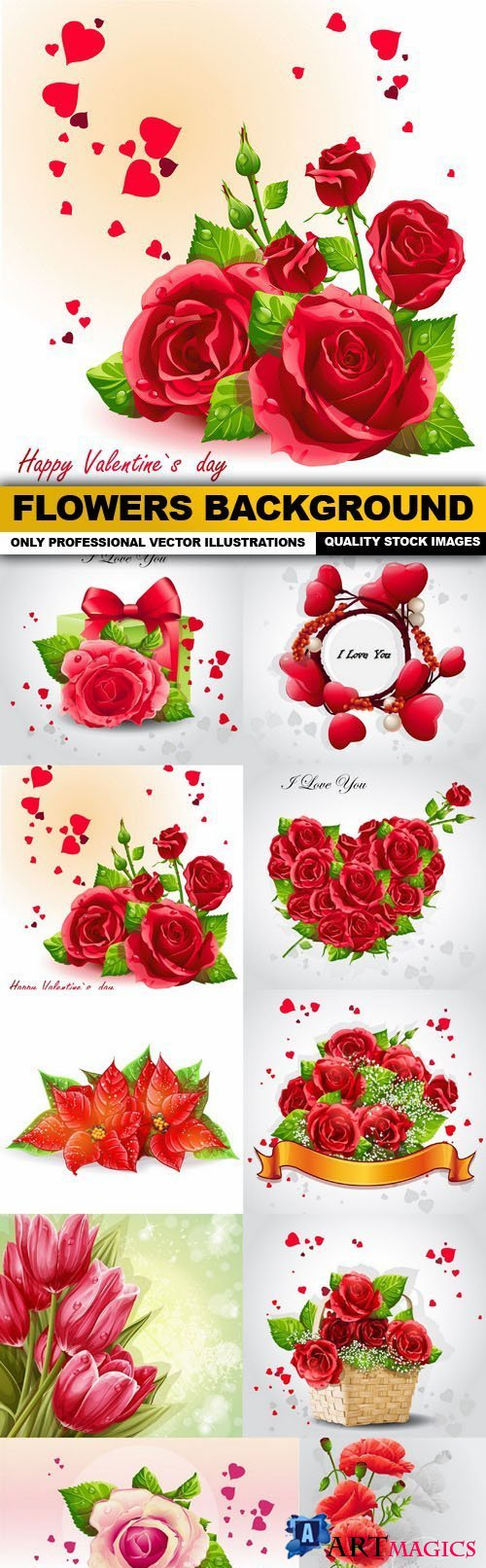 Flowers Background - 10 Vector