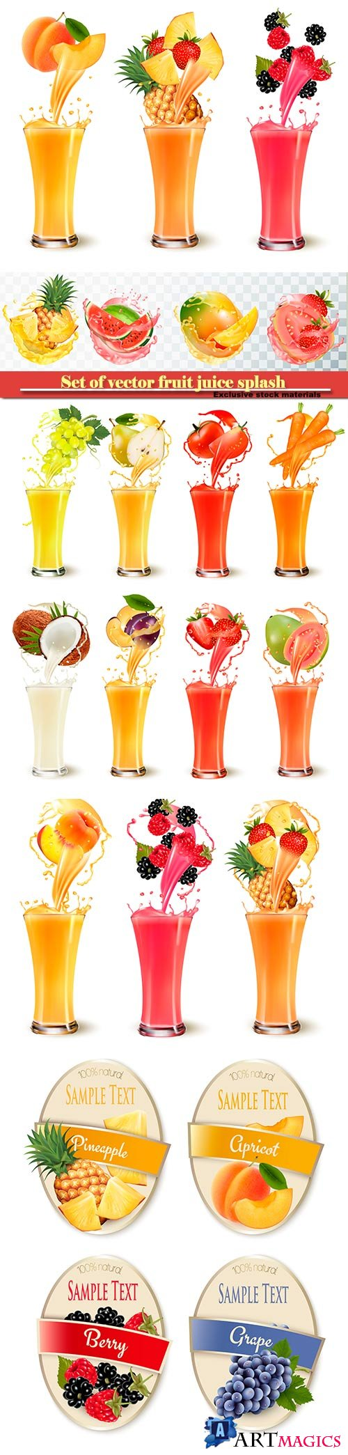 Set of vector fruit juice splash in a glass, pineapple, strawberry, raspberry and blackberry