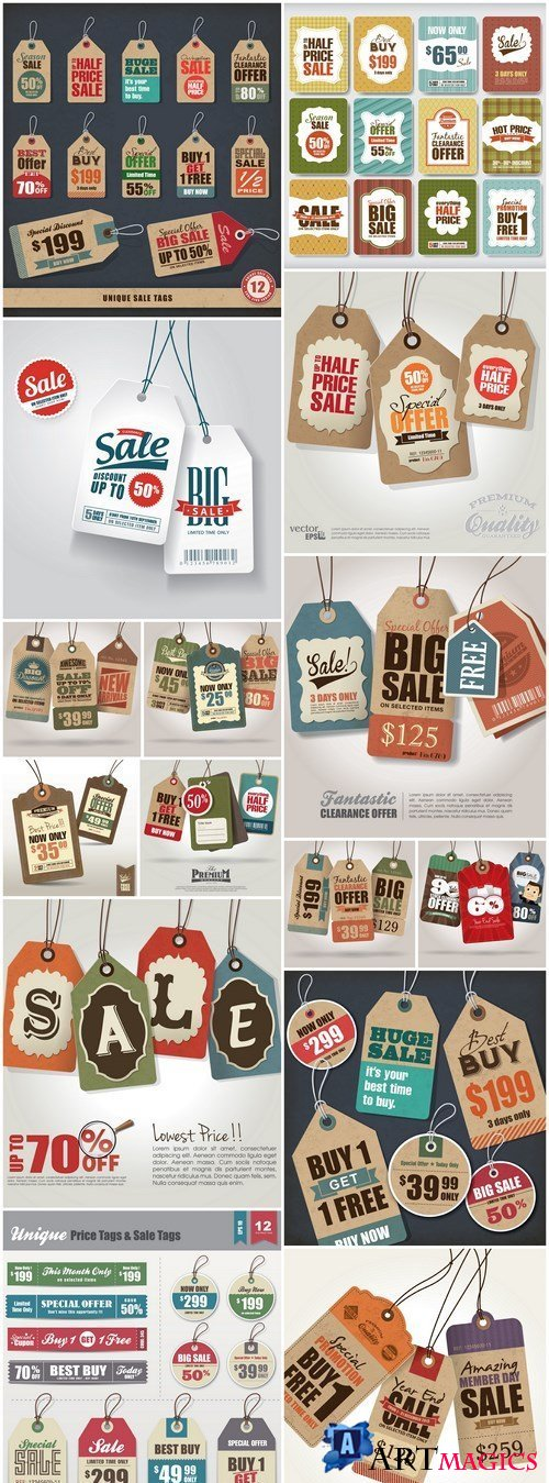 Set Of Sale Tags - 15 Vector