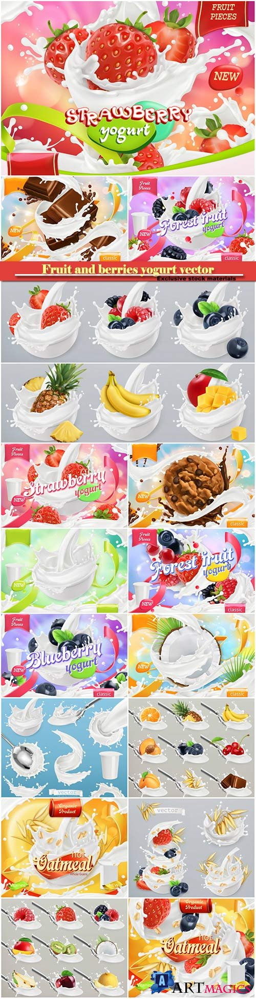 Fruit and berries yogurt vector, mixed berry and milk splashes, chocolate