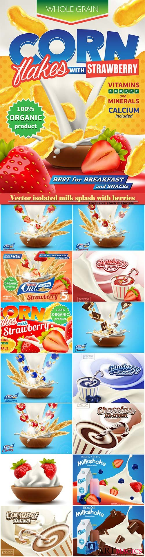 Vector isolated milk splash with berries, sweet strawberry yogurt, milkshake or cream