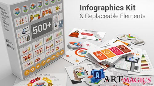 Infographics Kit & Replaceable Elements - Project for After Effects (Videohive)