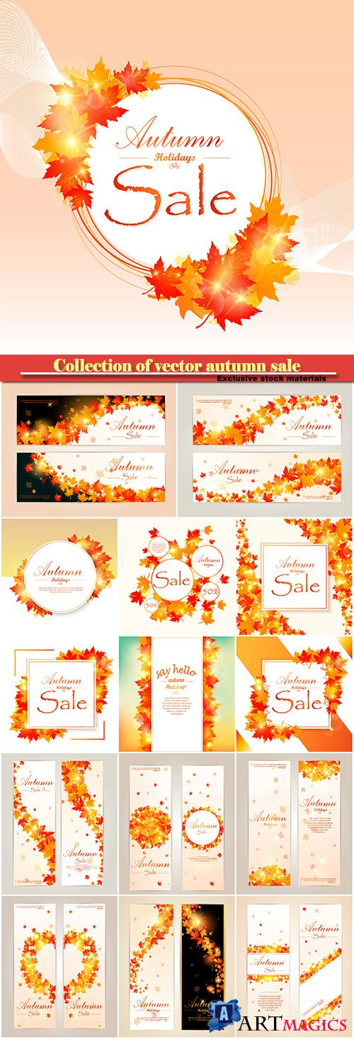 Collection of vector autumn sale and flyer template with lettering, bright fall leaves