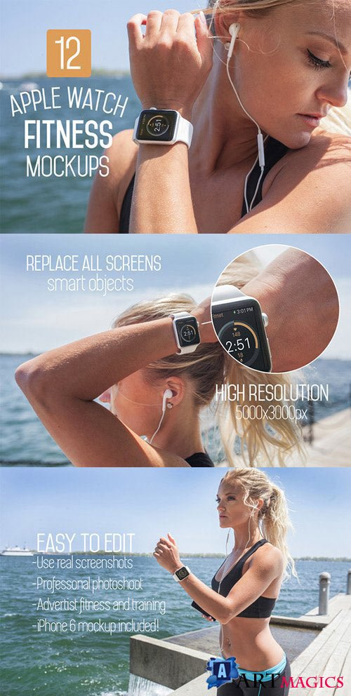 12 Apple Watch Fitness Mockups