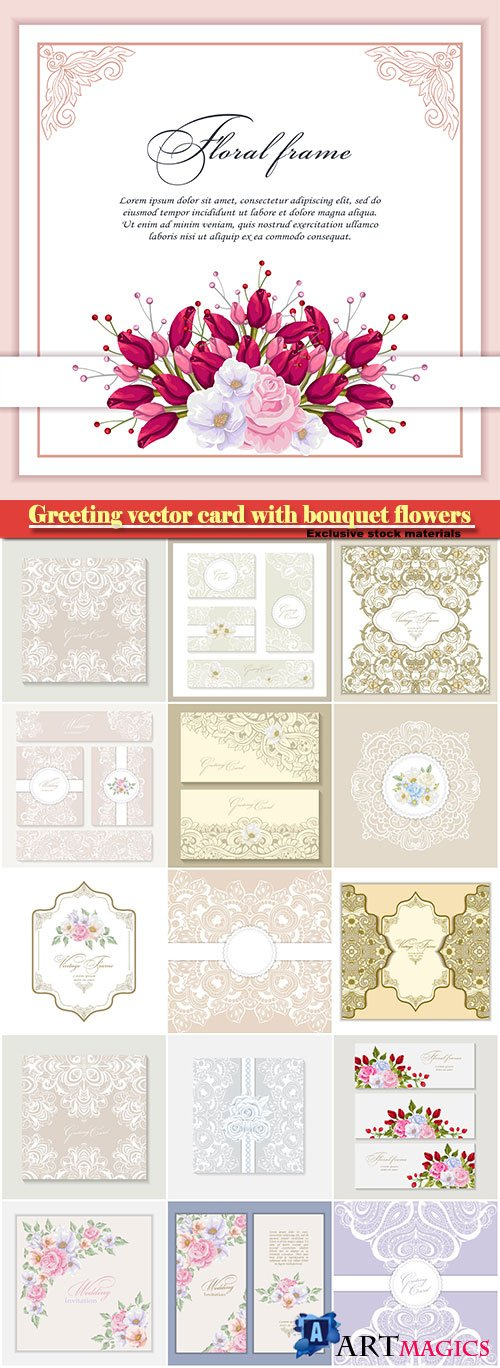 Greeting vector card with bouquet flowers for wedding, birthday and other holidays