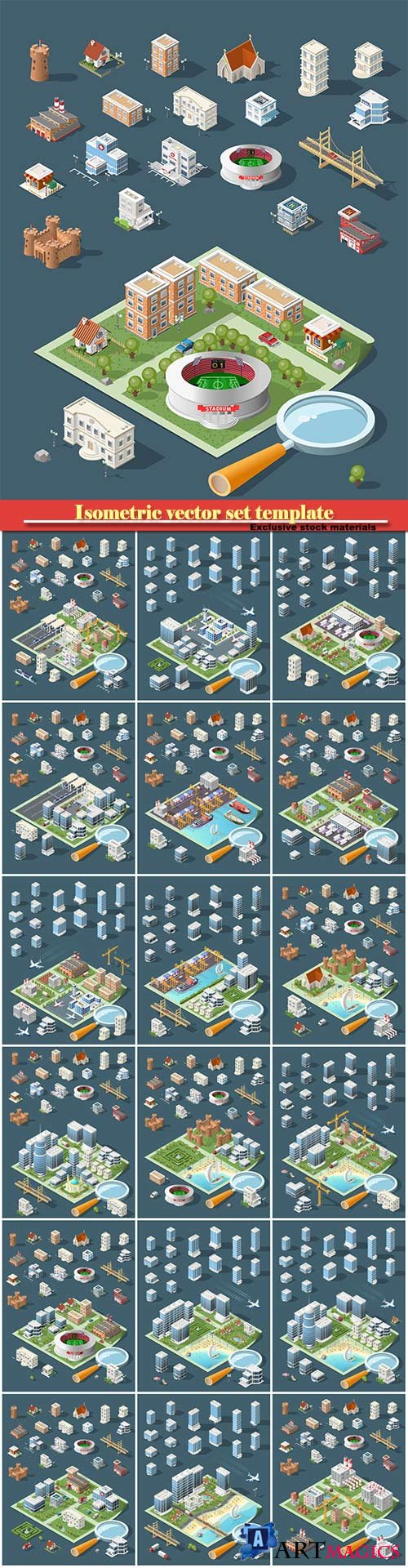 Isometric vector set template