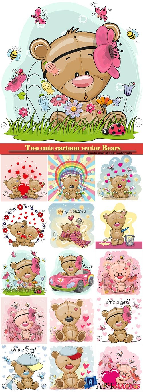 Two cute cartoon vector Bears on a flowers background