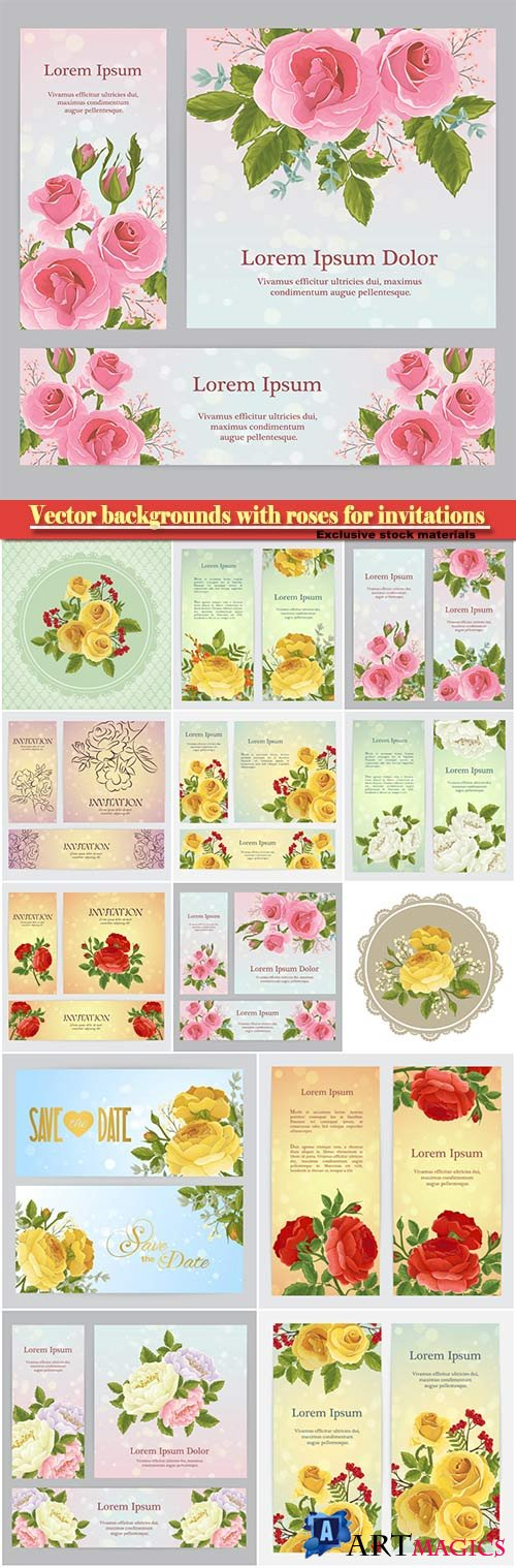 Vector backgrounds with roses for invitations