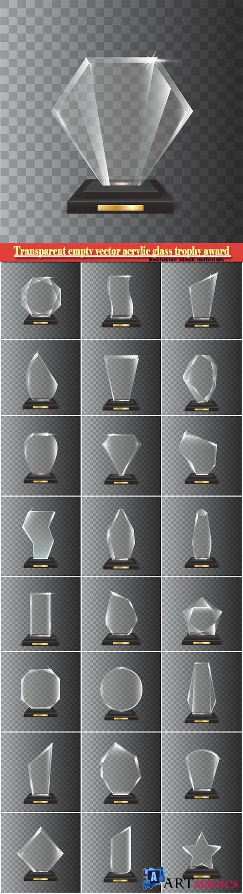 Transparent realistic empty vector acrylic glass trophy award