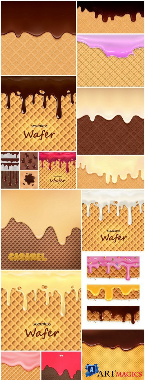 Wafer Backgrounds With Cream - 15 Vector