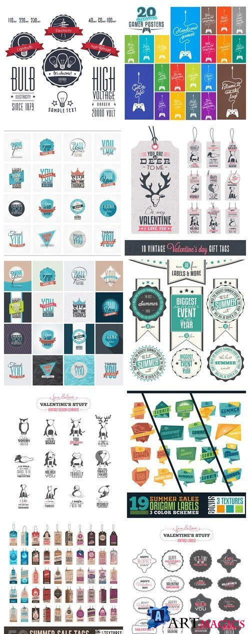 Different Retro Style Label Tags - 10 Vector