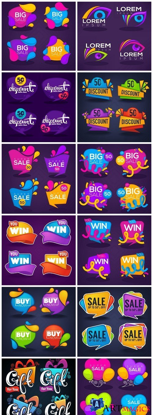 Bright Colorful Bubble Tags - 12 Vector