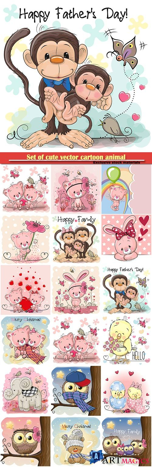 Set of cute vector cartoon animal, monkeys, chicken, kitten, bunny