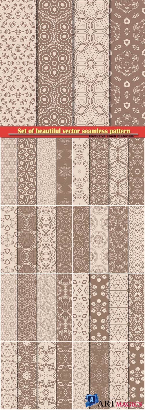 Set of beautiful vector seamless pattern with transformed geometric shape