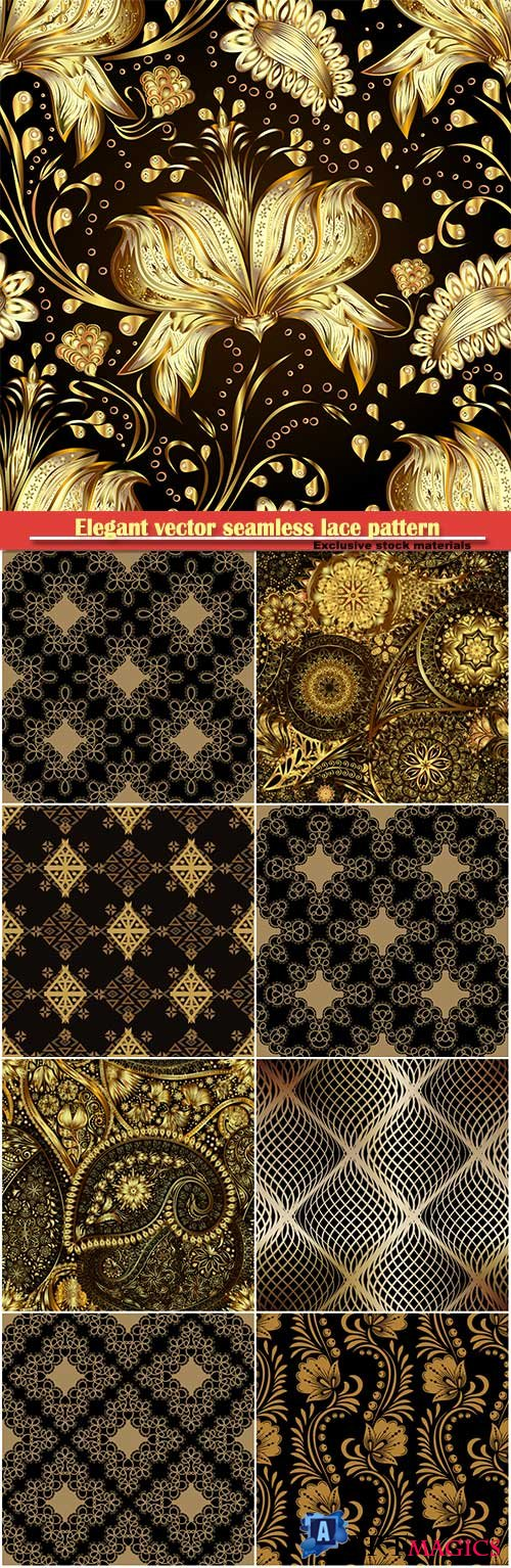 Elegant vector seamless lace pattern, gold floral seamless pattern in traditional russian style