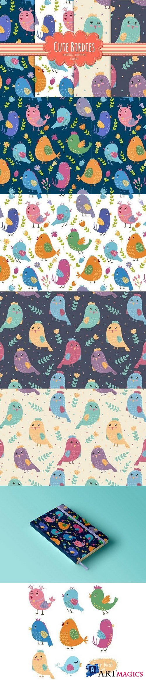 Cute Birdies: patterns&clipart 970718