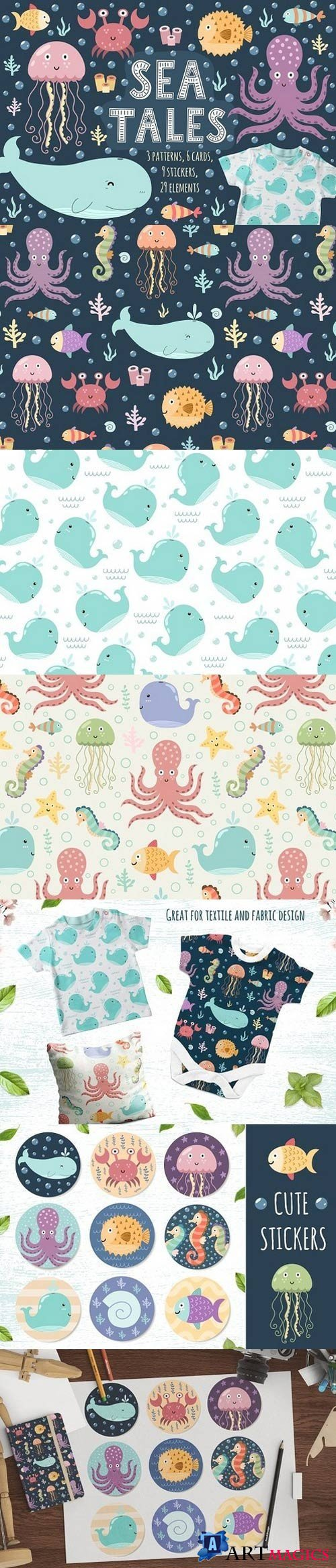 Sea Tales: patterns, stickers, cards 1702638
