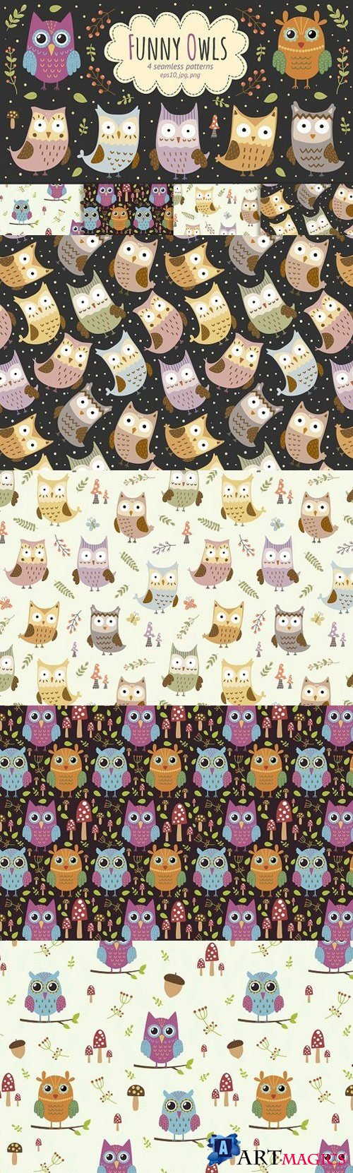 Funny Owls: 4 seamless patterns 924232