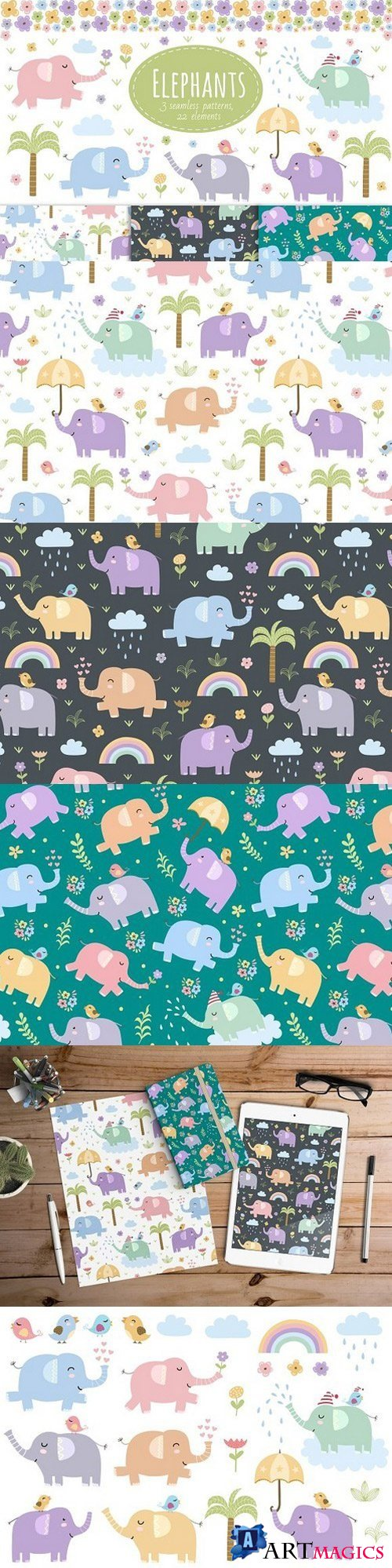 Elephants: seamless patterns&clipart 985196