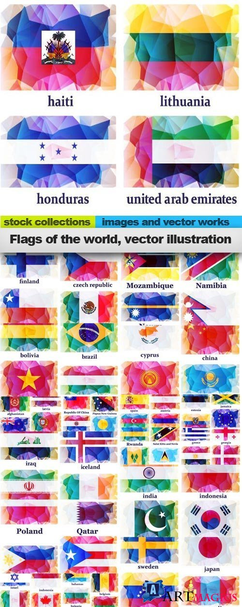 Flags of the world, vector illustration, 17 x EPS