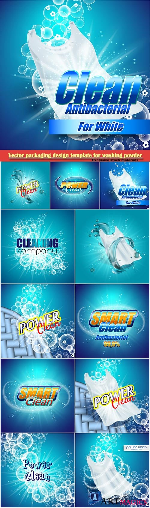 Vector packaging design template for washing powder, super clean, soap bubbles