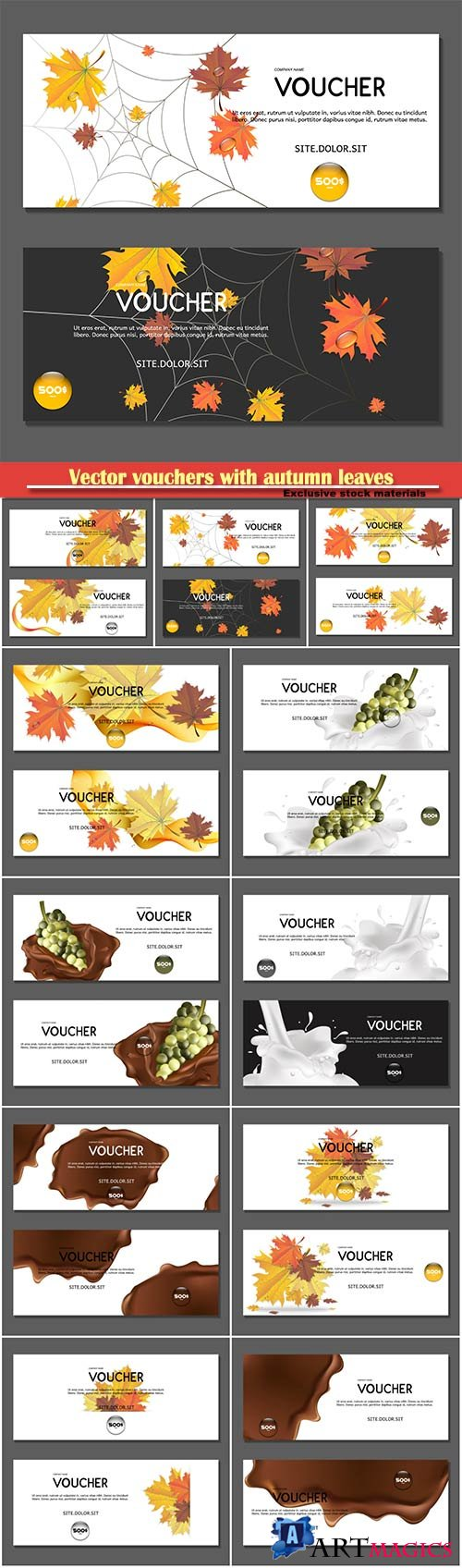 Vector vouchers with autumn leaves and grapes