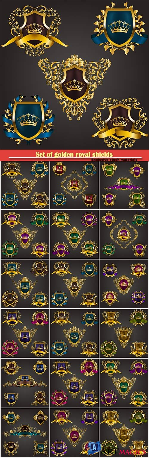 Set of golden royal shields with vector floral elements, ribbons, laurel wreaths for page, old frame, border, crown, divider in vintage style for label