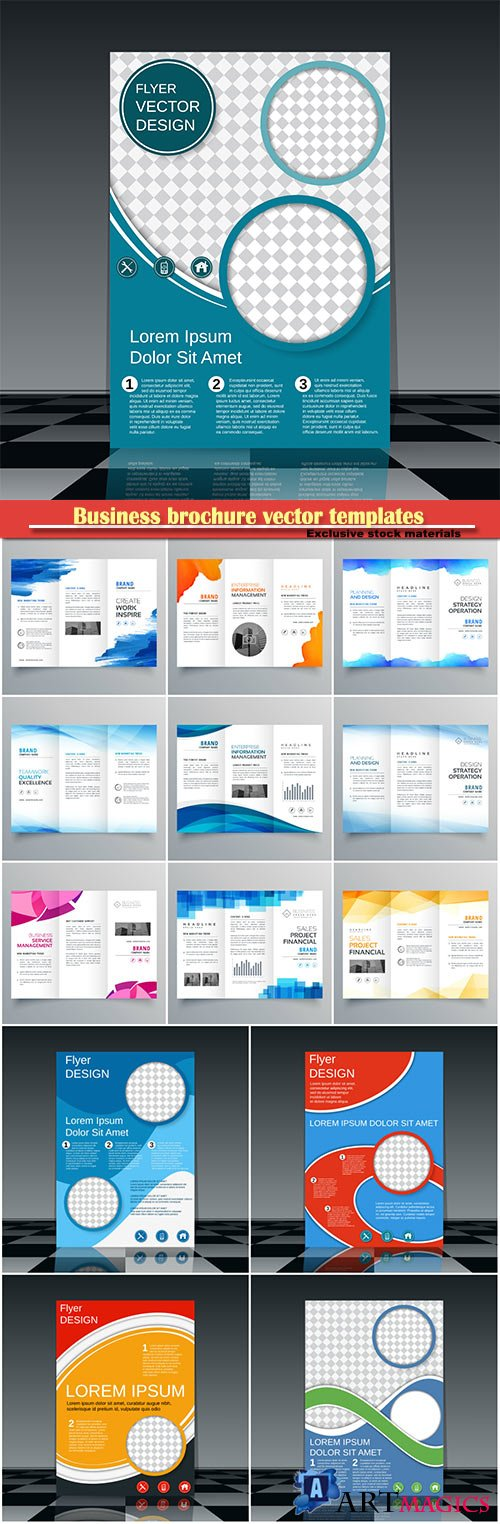 Business brochure vector templates, magazine cover, business mockup, education, presentation, report # 60
