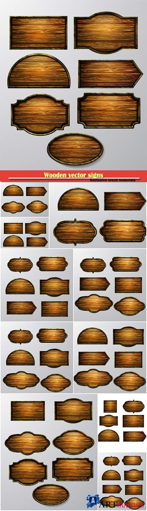 Wooden vector signs, vector icon set on white background